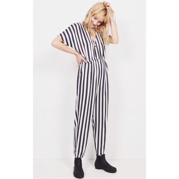 Fácil alma Portavoz  American Vintage Pants & Jumpsuits | American Vintages Blue Dalida Stripe  Jumpsuit | Poshmark